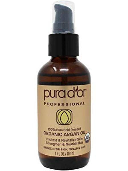 画像1: PURA D'OR 4 oz Organic Moroccan Argan Oil 100% Pure Cold Pressed プラドール オーガニック モロッコ アルガンオイル 100%ピュア コールドプレス 男性&女性 (1)